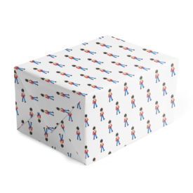 Toy Soldier Classic Gift Wrap printed on white paper.