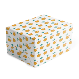 classic gift wrap featuring a whale is printed on white paper.