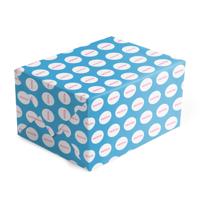 blue and fuchsia personalized gift wrap printed on 70lb paper.