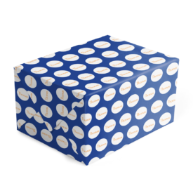 dark blue and orange personalized gift wrap printed on 70lb paper.