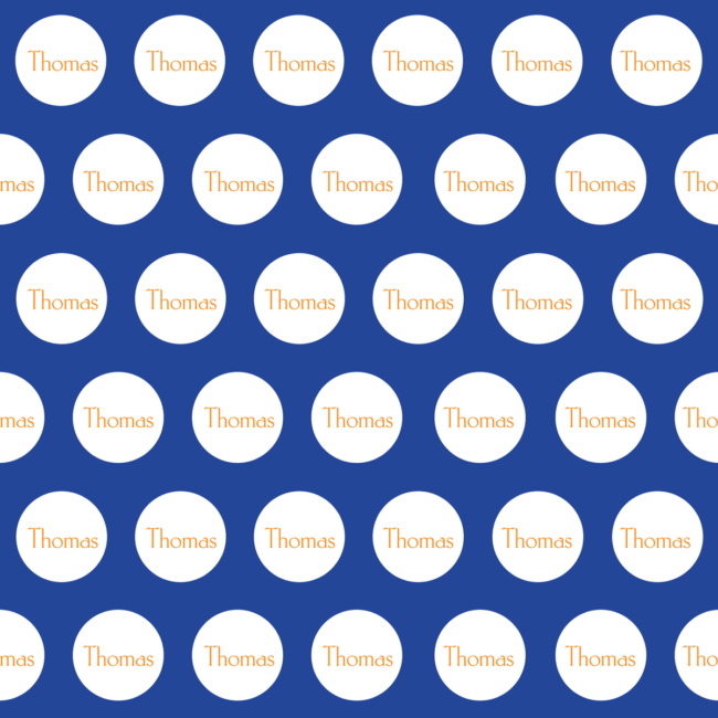 dark blue and orange personalized gift wrap