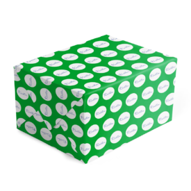 green and blue personalized gift wrap printed on 70lb paper.