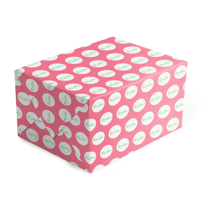 pink and green personalized gift wrap printed on 70lb paper.