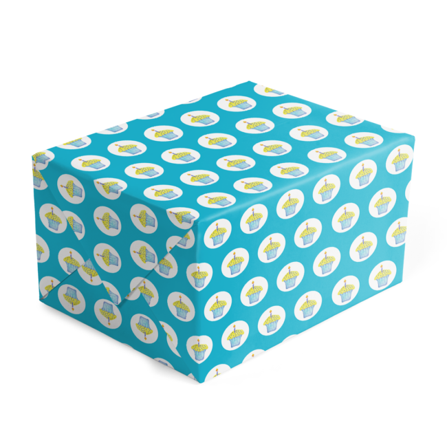 Cupcake preppy gift wrap printed on White paper.