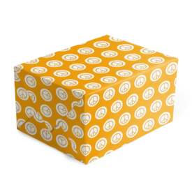 peace sign gift wrap printed on White paper.