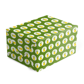 pineapple preppy gift wrap printed on White paper.