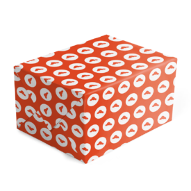 Santa Hat Preppy Gift Wrap printed on White 70lb paper.