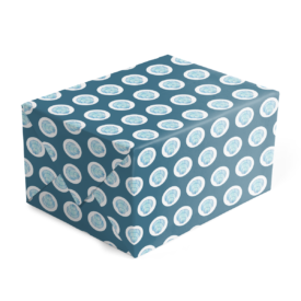 blue shell preppy gift wrap printed on white paper.