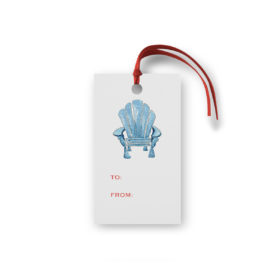 adirondack chair glittered gift tag printed on White paper.