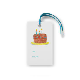 birthday cake glittered gift tag printed on White paper.