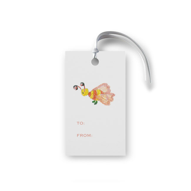 bee glittered gift tag printed on White paper.
