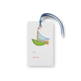 boat glittered gift tag printed on White paper.