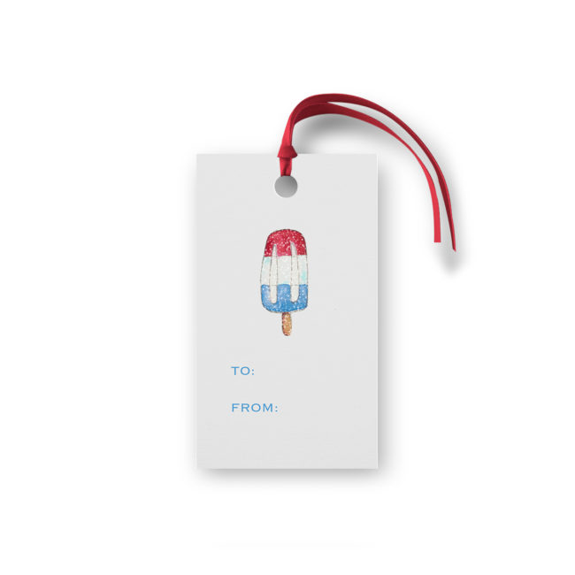 bomb pop glittered gift tag printed on White paper.