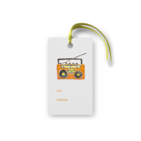 boom box glittered gift tag printed on White paper.