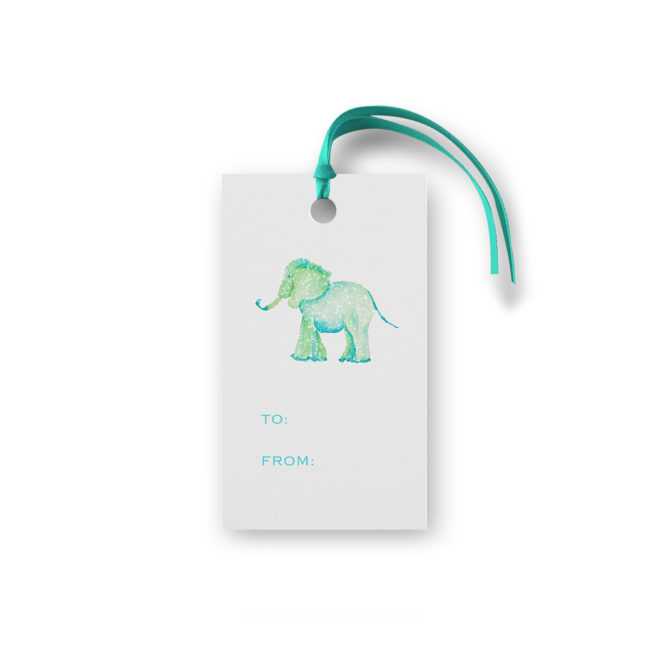 elephant glittered gift tag printed on White paper.