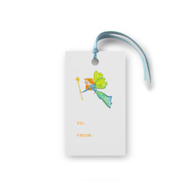 Gift tag featuring a fairy printed on White paper.