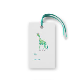 giraffe glittered gift tag printed on White paper.