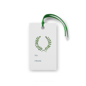 laurel wreath glittered gift tag printed on White paper.