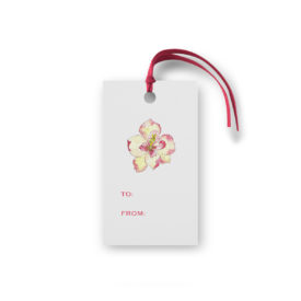 Gift enclosure featuring a magnolia flower printed on White paper.