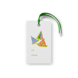 party hats glittered gift tag printed on White paper.