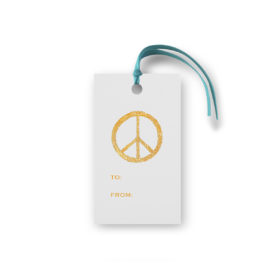 peace sign glittered gift tag printed on White paper.