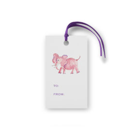 pink elephant glittered gift tag printed on White paper.