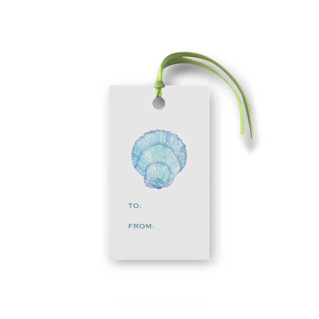 blue shell glittered gift tag printed on White Paper.