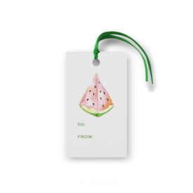 watermelon glittered gift tag printed on White Paper.