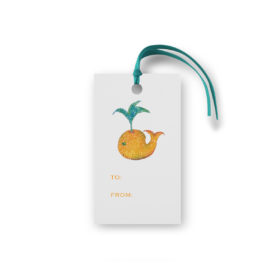 whale glittered gift tag printed on White paper.