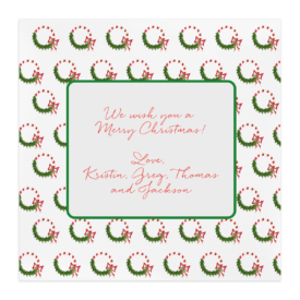 Candy Cane Wreath Square Motif Photo Card