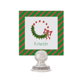 Candy Cane Wreath Place Card printed on White paper.