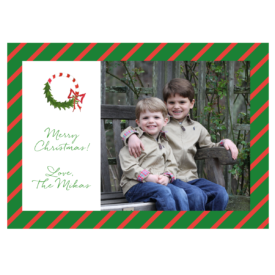 Candy Cane Wreath Striped 5x7 Photo Card