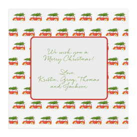 Holiday Car with Tree Square Motif Photo Card
