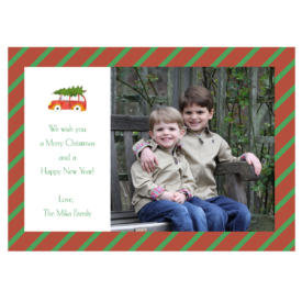 Holiday Car with Tree Striped 5x7 Photo Card