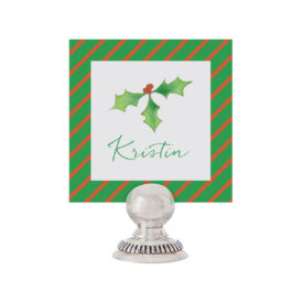 Holly Place Card printed on White paper.