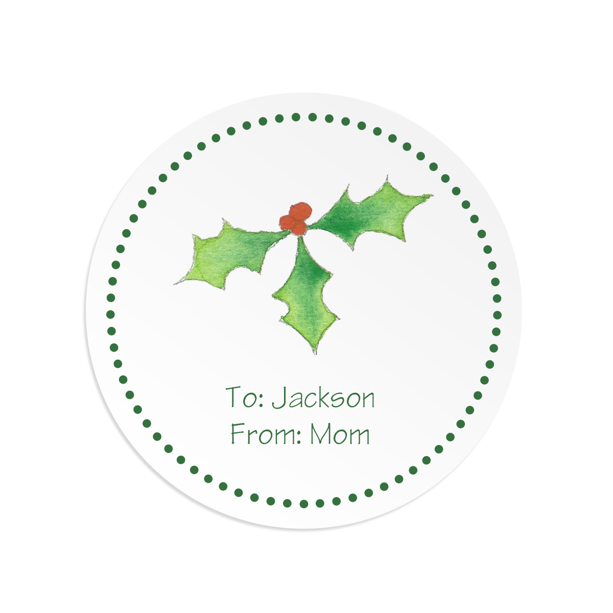Personalized holly round gift sticker