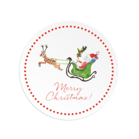 Santa and his Sleigh Round Gift Sticker