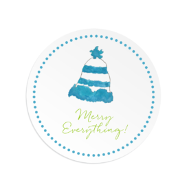 Winter Hat Round Gift Sticker