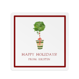 Holiday Topiary Square Gift Sticker