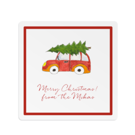 Holiday Car with Tree Square Gift Sticker