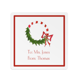 Candy Cane Wreath Square Gift Sticker
