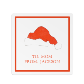 Santa Hat Square Gift Sticker