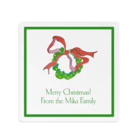 Wreath with Lights Square Gift Sticker