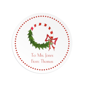 Candy Cane Wreath Round Gift Sticker