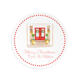 Holiday House Round Gift Sticker