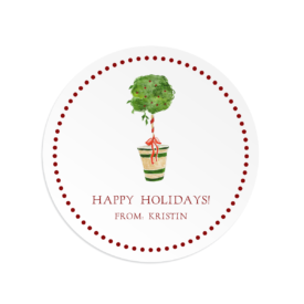 Holiday Topiary Round Gift Sticker