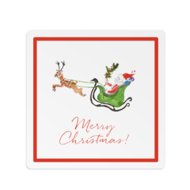 Santa and his Sleigh Square Gift Sticker