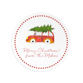 Holiday Car with Tree Round Gift Sticker