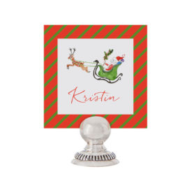 Santa and his Sleigh Place Card printed on White paper.
