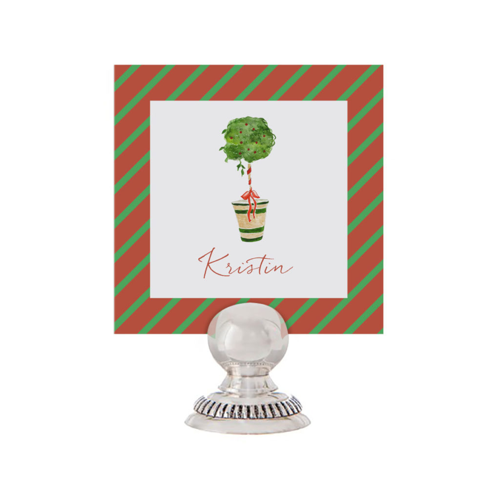 Holiday Topiary Place Card printed on White paper.